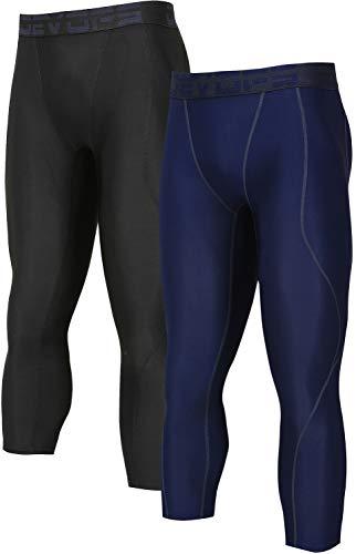 - DEVOPS Men's 3/4 (2 Packs) Compression Cool Dry Tights Baselayer Running Active Leggings Pants (Large, Black-Navy)