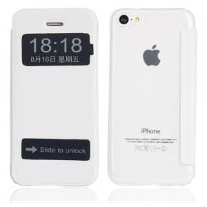 Flip-open Transparent Background Dull Polish Protective Case for iPhone 5C White