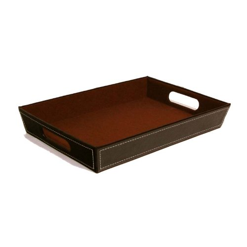 The Lucky Clover Trading Brown Faux Leather Valet Tray Basket,
