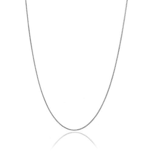 (Solid Italian 925 Sterling Silver Very Thin .7mm Box Chain Necklace - 20