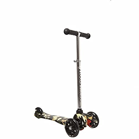 Deluxe 3 Wheel MINI Scooter - Perfect for 2-5 Year Olds. New GREEN CAMOUFLAGE Design with Adjustable Handlebars and Light Up - Safe T Ii Steering