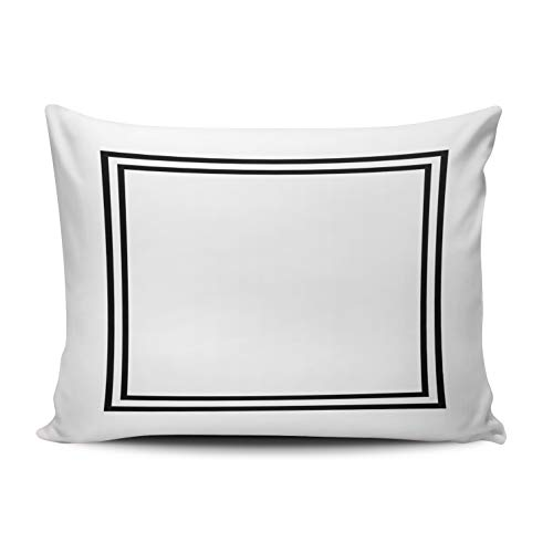 WULIHUA Decorative Throw Pillow Covers Classic Black and White Monogram? Fine Zipper Pillowcases Throw Pillow Cushion Covers for Sofa One Side Printed Lumbar 12x20 Inches
