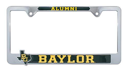 Baylor University Alumni - Premium All Metal NCAA BU Bears Alumni License Plate Frame w/Texas Shaped Insert (Baylor)