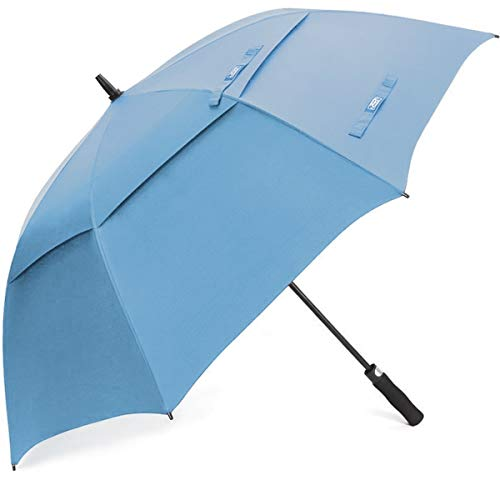G4Free Golf Umbrella Extra Large 54 Inch Windproof Oversize Automatic Double Canopy Vented Waterproof Stick Umbrellas (Sky Blue)