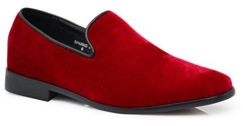 - SPK03 Men's Vintage Plain Velvet Dress Loafers Slip On Shoes Classic Tuxedo Dress Shoes (6.5 D(M) US, Red)