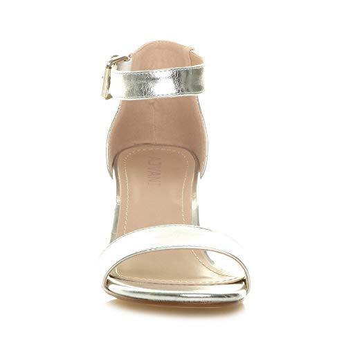 Argento Tacco Punta Medio Fibbia Aperta Taglia Metallizzato argento Cinghietti Donna Caviglia Sandali OHBqwxBz