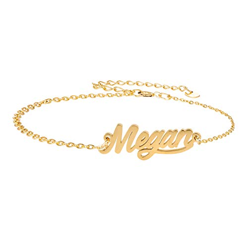 (HUAN XUN Script Personal Name Bracelet Custom Megan Pendant Jewelry in Golden Silver)