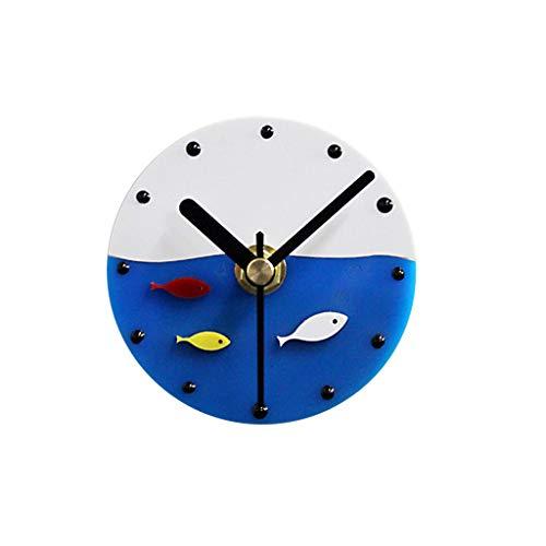 Zdtxkj Fish Design Refrigerator Magnets Sticker Clock Creative Mediterranean Style Vintage Message Clock for Home Decoration
