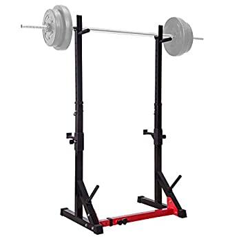 Image of Dumbbell Racks Ollieroo Barbell Rack Barbell Stand Height Adjustable Dip Stand Gym Family Fitness Squat Rack Weight Lifting Bench Press Dipping Station with Barbell Plate Rack, Height Range 46.8''-68.1''