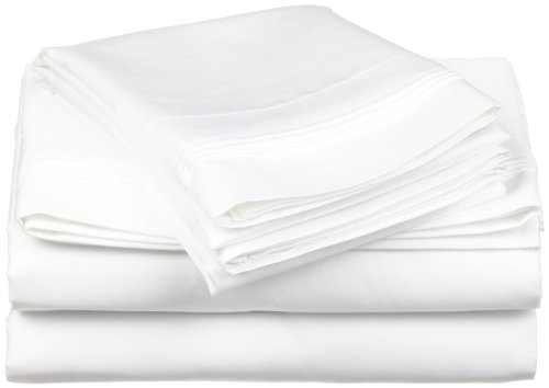 100% Egyptian Cotton 650 Thread Count, Split King 5-Piece Sheet Set, Deep Pocket, Single Ply, Solid, White (Egyptian Cotton 650 Thread)