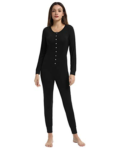 Zexxxy Womens Cotton Pajamas Adult Onesie Henley Thermal Underwear Union Suit