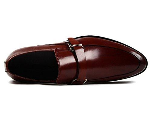 Herren Lederschuhe Herren Lederschuhe britischen Stil Business Formelle tragen wies Hasp einzelne Schuhe Herrenschuhe ( Farbe : Schwarz , größe : EU43/UK8 ) Weinrot