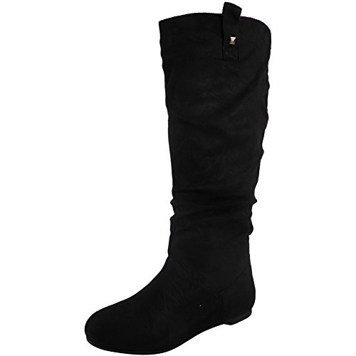 SIZE KNEE BOOTS 8 MID CALF FLAT SLOUCH WOMENS Suede 3 PULL PIXIE LONG ROUCHED ON LADIES Black WTw0nq7fP