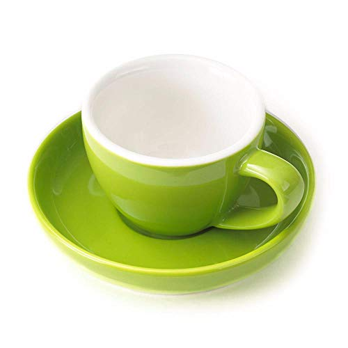 Espresso Cup and Saucer - (1 PC Set) 3-Ounce Demitasse for Coffee, Vibrant Color Choices, Durable Porcelain (Lemongrass Green) ()