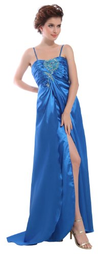 herafa p31312-16 Evening Gowns Elegant Spaghetti Straps Sleeveless Ruched Delicate Beading Long 0 A-Line Blue