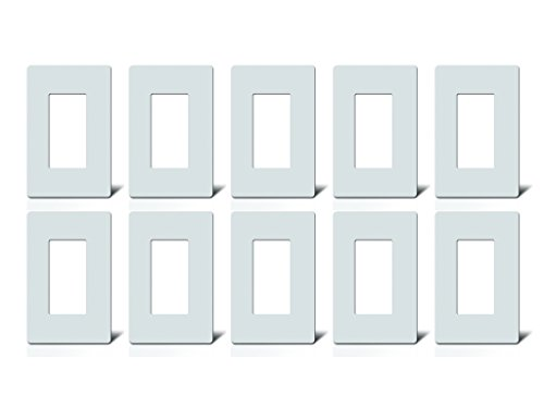 Screwless Decorator 1-Gang Wall Plates by HomeConnect | WHITE | (10 PACK) for Switch/Rocker/Dimmer | Standard Size | Snap On Easy Install | Child Proof - Jumbo Six Outlet Wall Plate