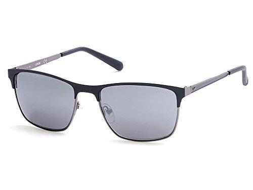 GUESS Men's Gu6878 Wayfarer Sunglasses, Matte Black & Smoke Mirror, 57 ()