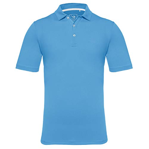 (EAGEGOF Regular Fit Men's Performance Polo Shirt Stretch Tech Golf Shirt Short Sleeve (Bright Blue, L))