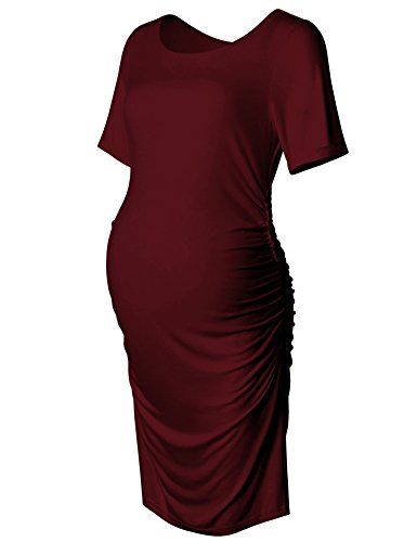 Bhome Maternity Bodycon Dress Short Sleeve Ruched Sides Knee Length Midi Dress...