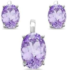 Jewelry Accessories Key Chain Bracelet Necklace Pendants Solitaire Amethyst Three Piece Oval 925 Sterling Silver Earring /& Pendant Set