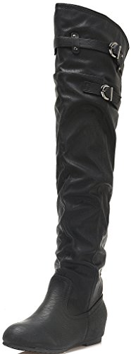 DREAM PAIRS LENSY Women's Casual Pull On Slouchy Double Buckled Side Zip Over The Knee Flat Heel Winter Boots (Wide Calf Available) 1W-BLACK-SZ-9.5