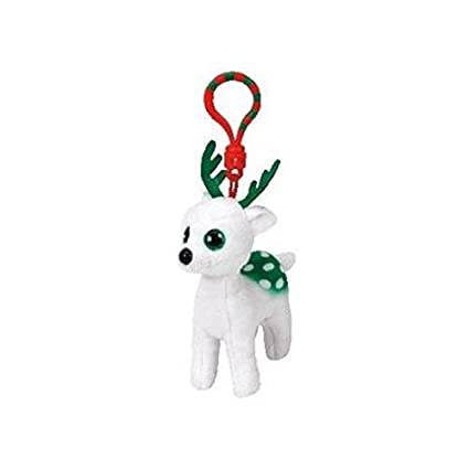 f738481728b Amazon.com  Ty Beanie Babies 37252 Peppermint the White Reindeer Key Clip   Toys   Games
