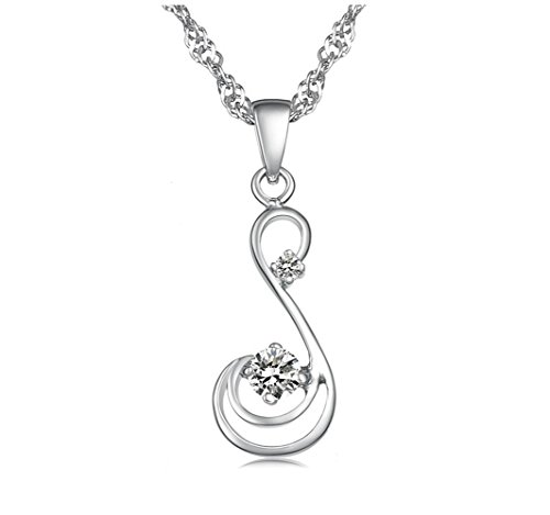 KATGI Fashion 18K White Gold Plated Angel Hearts and Arrows Swiss Crystal Pendant Necklace