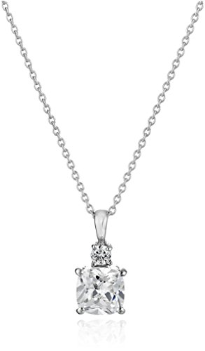 Sterling Silver Cubic Zirconia Cushion Pendant Necklace, 18