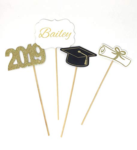 - Custom Double Sided Graduation 2019 Centerpiece Sticks Set of 4 Graduation Hat Diploma Year Name Floral Picks Glitter and Foil Black White Gold by PaperGala