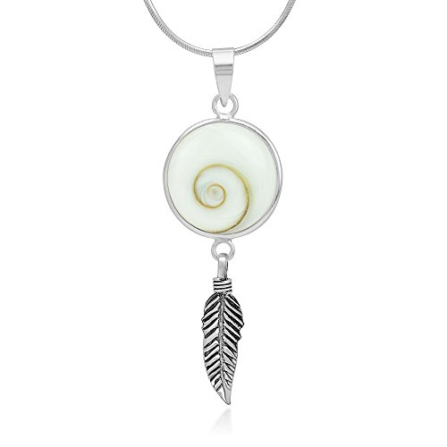 - 925 Sterling Silver Shiva Eye Shell Dream Catcher Lucky Charm Round Pendant Necklace, 18