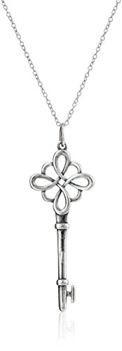 """Rhodium Plated Sterling Silver Oxidized Celtic Key Pendant Necklace, 18"""""""