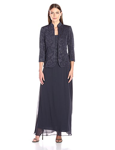 Alex Evenings Women's Jacquard Glitter Knit Long Dress and Mandarin-Neck Jacket