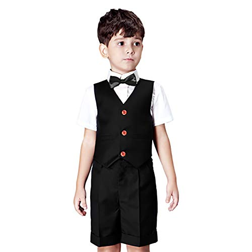 Yilaku Baby Boy Formal Outfit Short Sleeve Shirt + Shorts + Vest Tuxedo Plaid Gentleman Suit Set (2-3Years Black)
