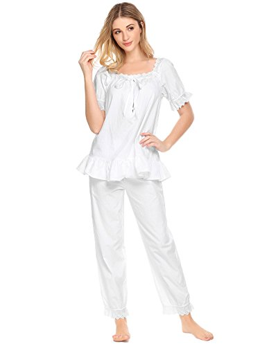 Avidlove Womens Cotton Pjs Victorian Vintage White Long Sleeve Pajama Set Sleepwear,White, M