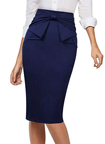 VFSHOW Womens Pleated Bow High Waist Slim Work Office Business Pencil Skirt 865 DBLU 3XL Navy Blue