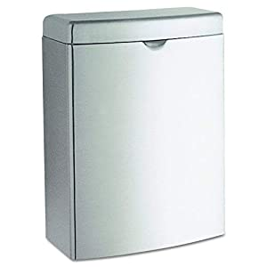 Bobrick 270 Contura Sanitary Napkin Receptacle, Rectangular, Stainless Steel, 1gal (Pack of 2)