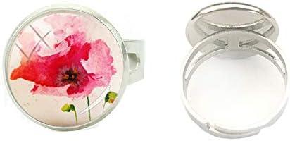 Juego de anillos de amapolas rojas pintados a mano de calidad con forma de domo de cristal para arte y joyería con hermosas flores y anillos de plata