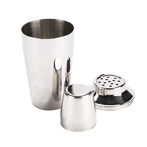 Tezzorio Bar Supplies 3-Piece Cocktail Shaker, 8 oz Stainless Steel Cobbler Shaker