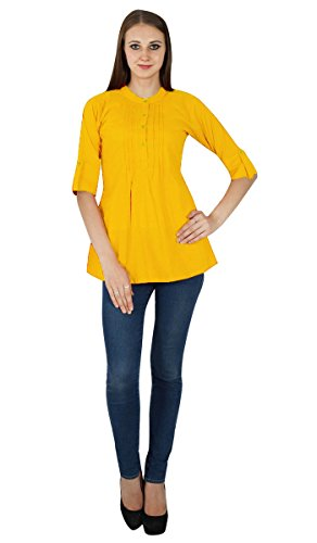 Vtements Ocre Jaune Sundress pour Robe Tunique Boho Solide en Top Coton xFwIqddf