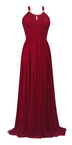 Conail Coco Women Ruched Waist Rhinestone Casual Tulle Semi-Formal Long Wedding Bridesmaid Dress (XXL, 34Burgundy)