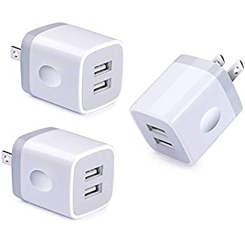 Dual Port USB Wall Charger, NINIBER 3-Pack Charging Block Cube Box Brick Plug Compatible iPhone Xs Max XR 8 X 7 6 4 6S Plus 5 SE 5C iPad iPod Samsung ...