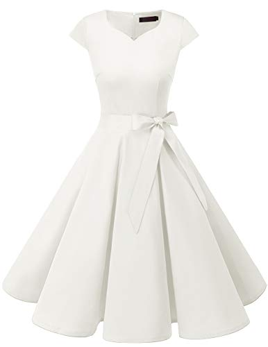 Dresstells Vintage 1950s Solid Color Prom Dresses Cap Sleeve Retro Swing Dress White L