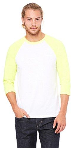 Bella + Canvas Unisex 3/4-Sleeve Baseball T-Shirt, Small, WHT/NEON -