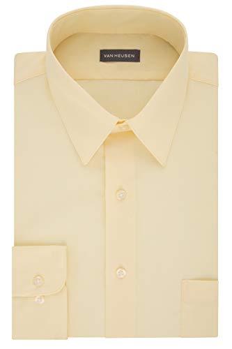 (Van Heusen Men's Dress Shirt Fitted Poplin Solid, Lemon Glaze, 16.5