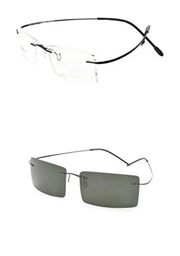 Rimless Titanium Frame Photochromic (light-adjusting) Lenses eyeglasses(Rectangular black£¬change gray) by My eyes