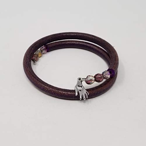 Memory Wire Bracelet - Dark Mauve Leather with Czech Glass Beads and Silver Heart in Head Charm Czech Glass Memory Wire Bracelet