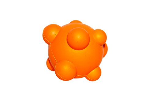 PlayfulSpirit Bumpy Bouncy Solid Rubber Ball - Great Chew Toy for Teething Puppies and Awesome Plaything for Smaller, Medium Size Dogs to Play Catch and Fetch - Fun Games Guaranteed (Orange)