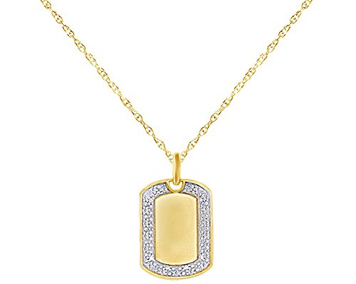 Wishrocks Natural Diamond Accent Initial Dog Tag Pendant Necklace in 14K Yellow Gold Over Sterling Silver