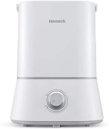 Homech Cool Mist Humidifier, Quiet Ultrasonic Humidifier for Bedroom Home Baby 12-60 Hours, Easy to Clean, 360° Nozzle, Waterless Auto Shut-Off (4L/1.06 Gallon US 110V)