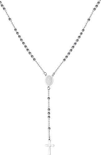 (LineAve Women's Stainless Steel Catholic Rosary Cross, Beads, and Medal Y Necklace, 7h0009)